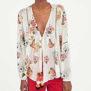 Zara Dotted Mesh Blouse Embroidered Floral Kimono